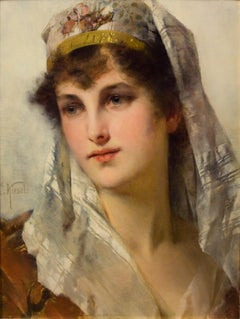19th century portrait of a Young beauty in a Headdress