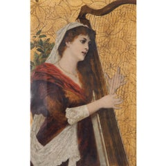 Young Woman playing the Harp, 1885, Conrad Kiesel, Oil on Leather, Figurative