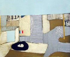 VILLA NEUVE Signed Lithograph, City Landscape Collage, Modernist Abstract, Flag