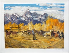 SINGLIN' OUT Signed Lithograph, American Cowboy Roping Horses, Rocky Mountains