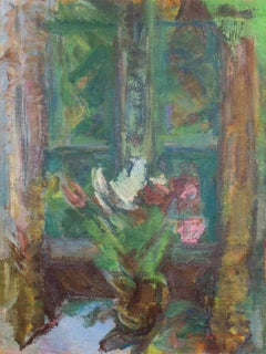 'Tulips by a Window', Large Post-Impressionist oil painting, Paris Salon Artist