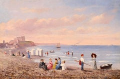 Dieppe-Figures on the Beach - Impressionist Oil, Figures Landscape - C W Chapman