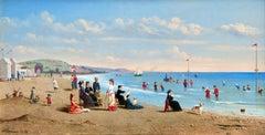 Trouville-sur-Mer - 19th Century Oil, Figures on Beach Landscape by C W Chapman