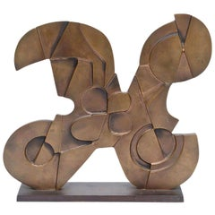 Consagra Abstract Modernist and Cubist Bronze Sculpture Signed Italian Vintage