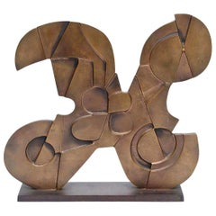 Consagra Signed Abstract Modernist and Cubist Bronze Sculpture Italian Vintage