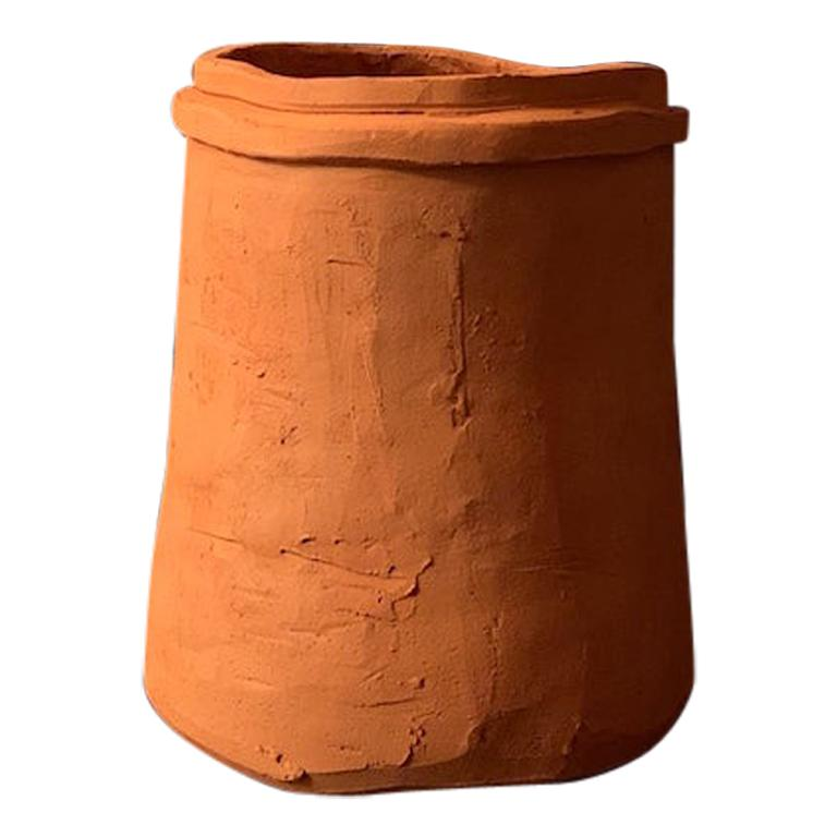 """conserva n.01"" Medium Natural Clay Vessel Handmade Contemporary Art by Nino For Sale"