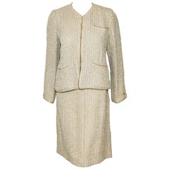 Consistent Chanel Nacar Beige Pearl Trimmed Spring '99 Skirt Suit