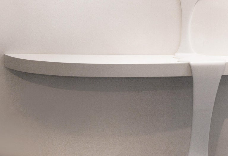Modern Consolable, Console and Mirror, All White Special Edition, Contemporary Design For Sale