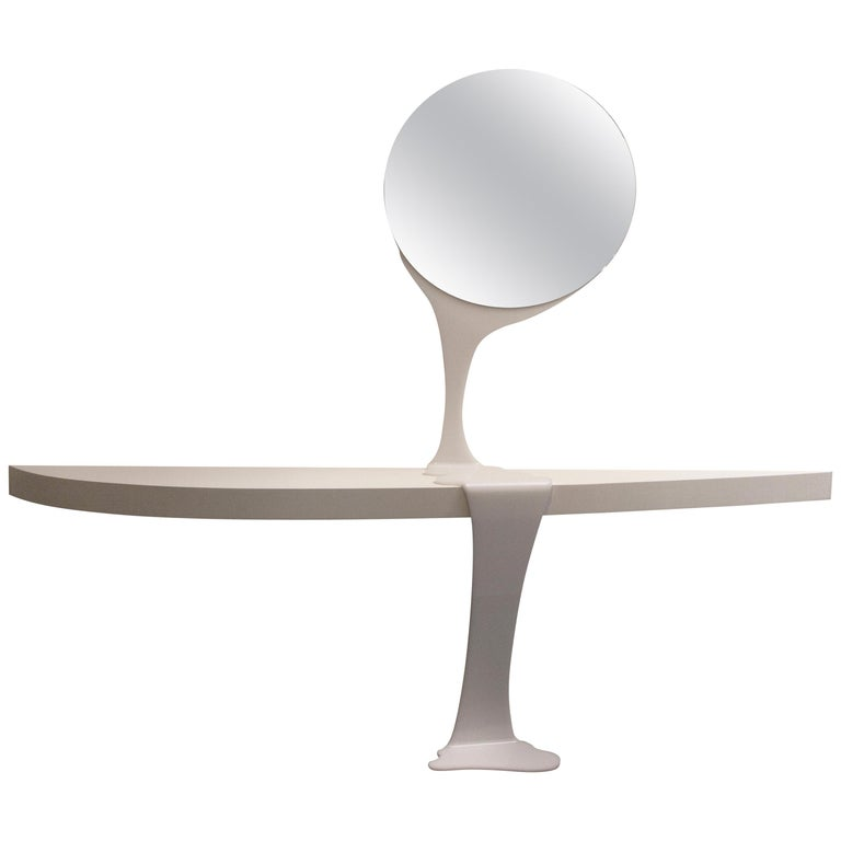Consolable, Console and Mirror, All White Special Edition, Contemporary Design For Sale