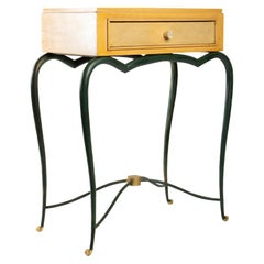Console 1940 René Prou in Sycamore and Patinated Wrought Iron, Parchment Drawer