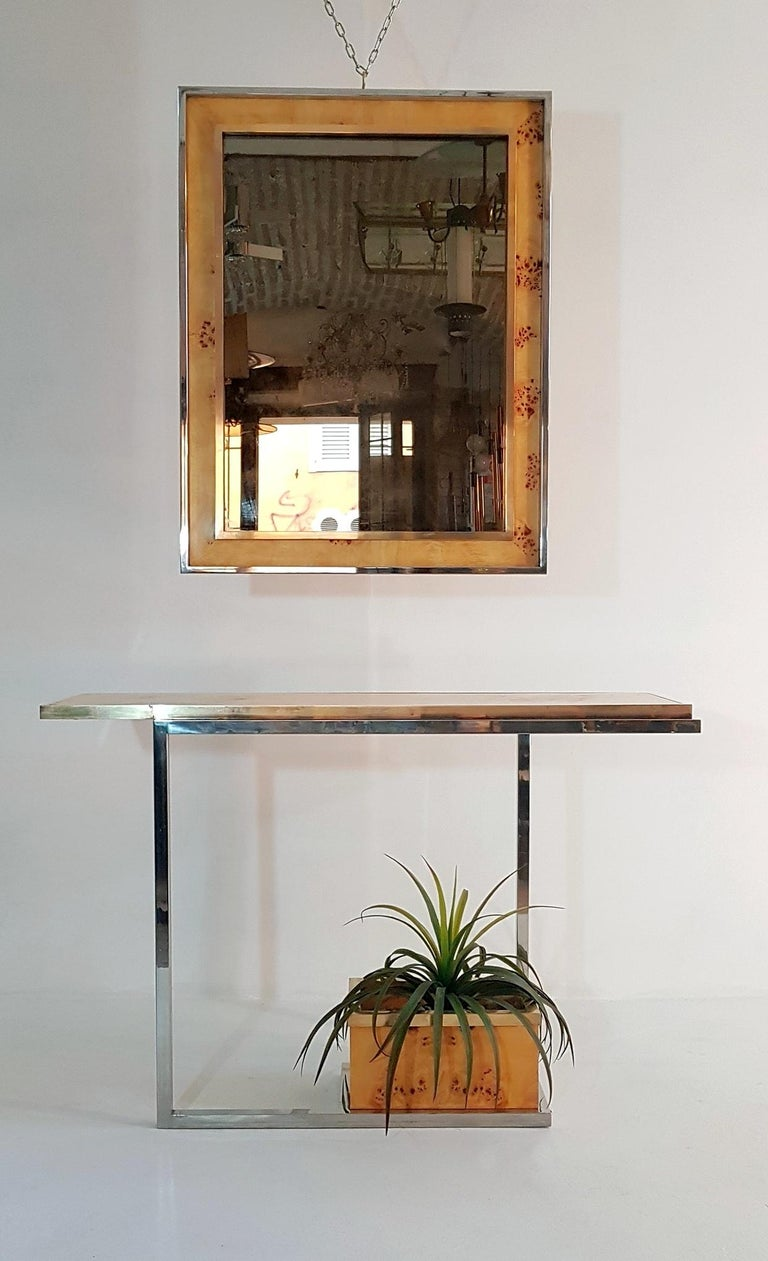 Console and Mirror in Burl Wood, Chrome and Brass 2
