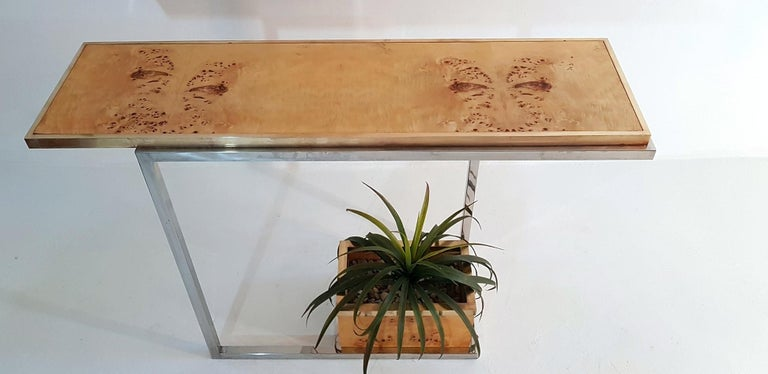 Console and Mirror in Burl Wood, Chrome and Brass 4