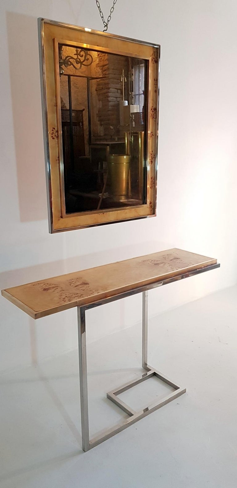 Console and Mirror in Burl Wood, Chrome and Brass 5