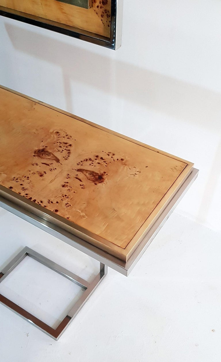 Console and Mirror in Burl Wood, Chrome and Brass 6