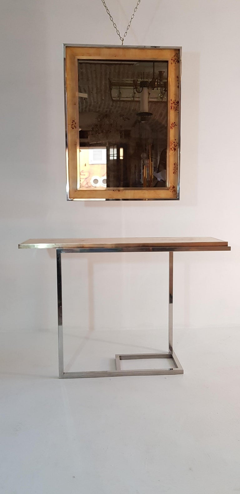 Console and Mirror in Burl Wood, Chrome and Brass 7