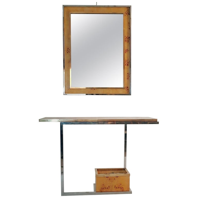 Console and Mirror in Burl Wood, Chrome and Brass 1