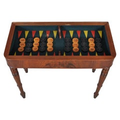 Console Antique Backgammon Game Table opens to Square