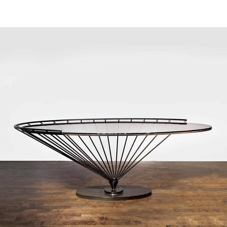 Console by Marzio Cecchi, Italy, circa 1970, in painted metal and glass, one of three known examples made for the Helle Boutique in La Spezia, manufactured by Studio Most, Florence.