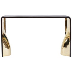 Console Cast in Dark Bronze with Polished Gold Bronze Interior by Elan Atelier