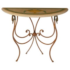 Console Cream Marble Top handmade Scagliola Art Inlay Wrought Iron Base