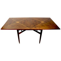 Console Flip Top Dining Table by Parzinger with Brass String Inlay