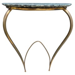 Console in Brass and Original Marble Attribute to Ico Parisi, Italy, 1950s