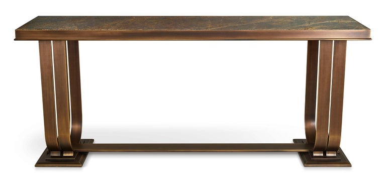 Bronzed Console In Brozed Brass Top in Black Aziz Marble or Calacatta Gold Marble For Sale