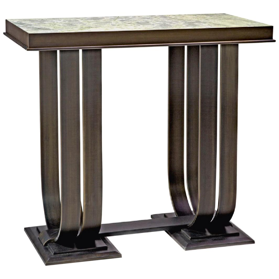 Console in Brozed Brass Top in Black Aziz Marble or Calacatta Gold Marble