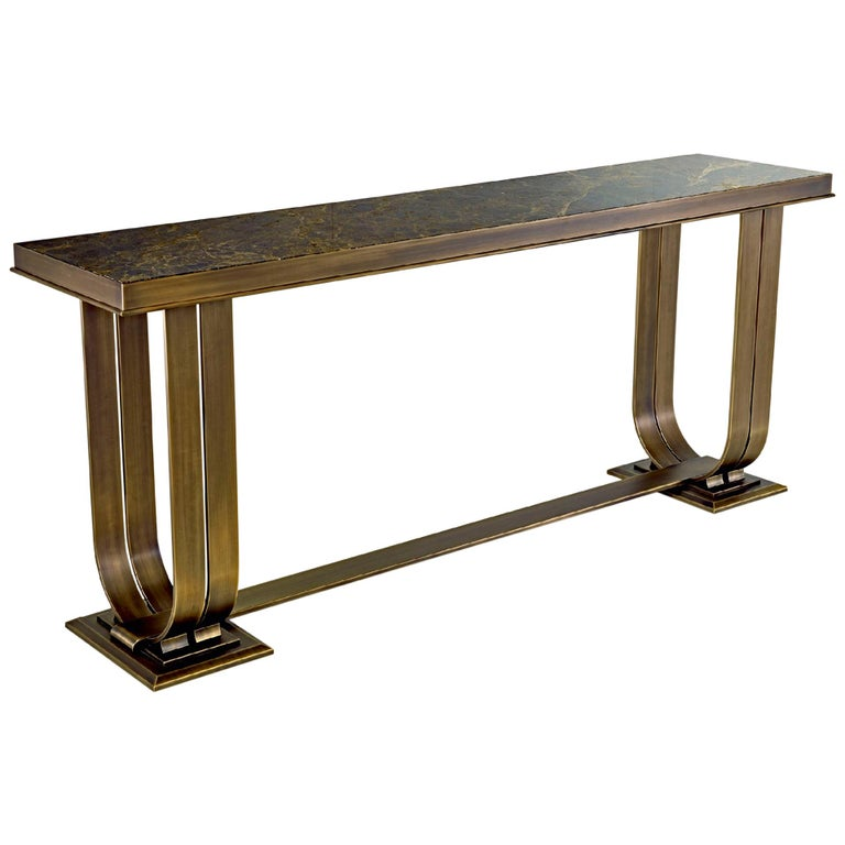 Console In Brozed Brass Top in Black Aziz Marble or Calacatta Gold Marble For Sale
