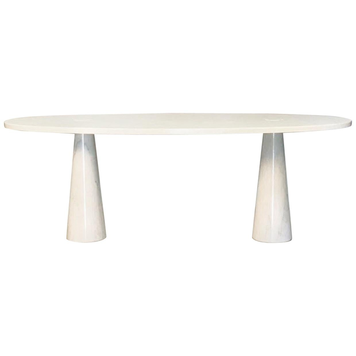 Mid-Century Modern White Dining table in Carrara marble by Angelo Mangiarotti