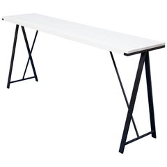 Console Table in Contemporary Blackened Steel and White Washed Ash