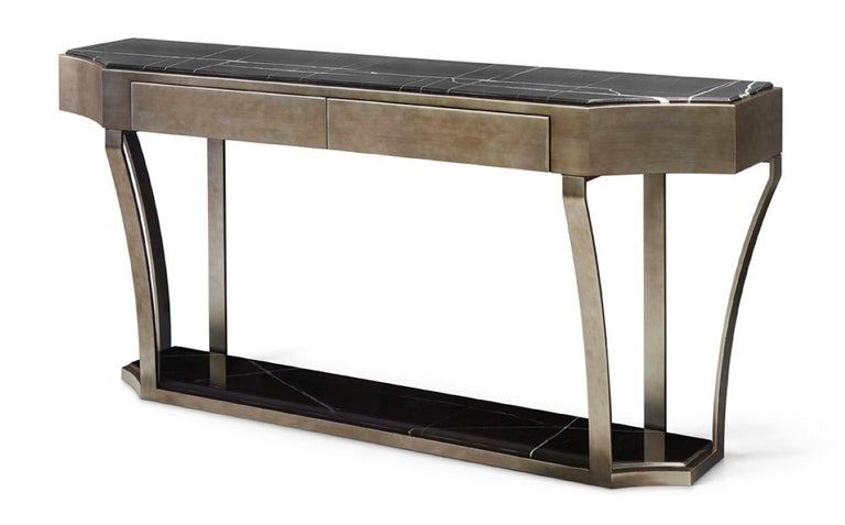 Italian Console in Distressed Paint Finish Top in Calacatta Gold Marble For Sale