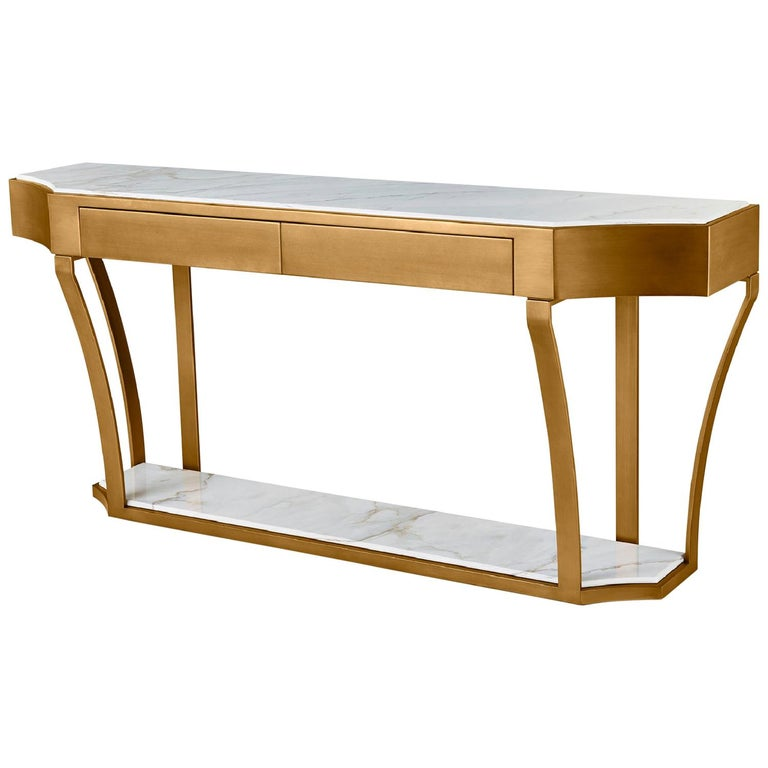 Console in Distressed Paint Finish Top in Calacatta Gold Marble For Sale