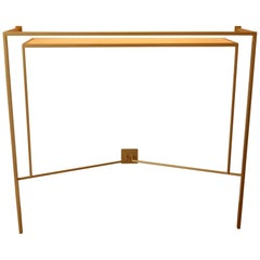 Console in Gold, Bronze Brass Patina with One Sycamore Shelve by Aymeric Lefort