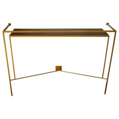 Console in Gold, Bronze Brass Patina with One Walnut Shelve by Aymeric Lefort