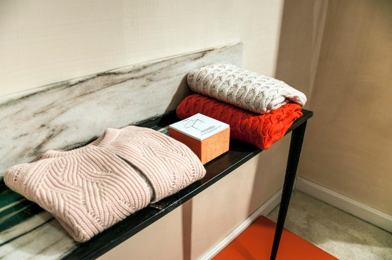 Hand-Crafted Console in Marble and Wood For Sale