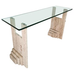 Mid Century Console in Travertine Marble and Glass, in the Style of Fontana Arte