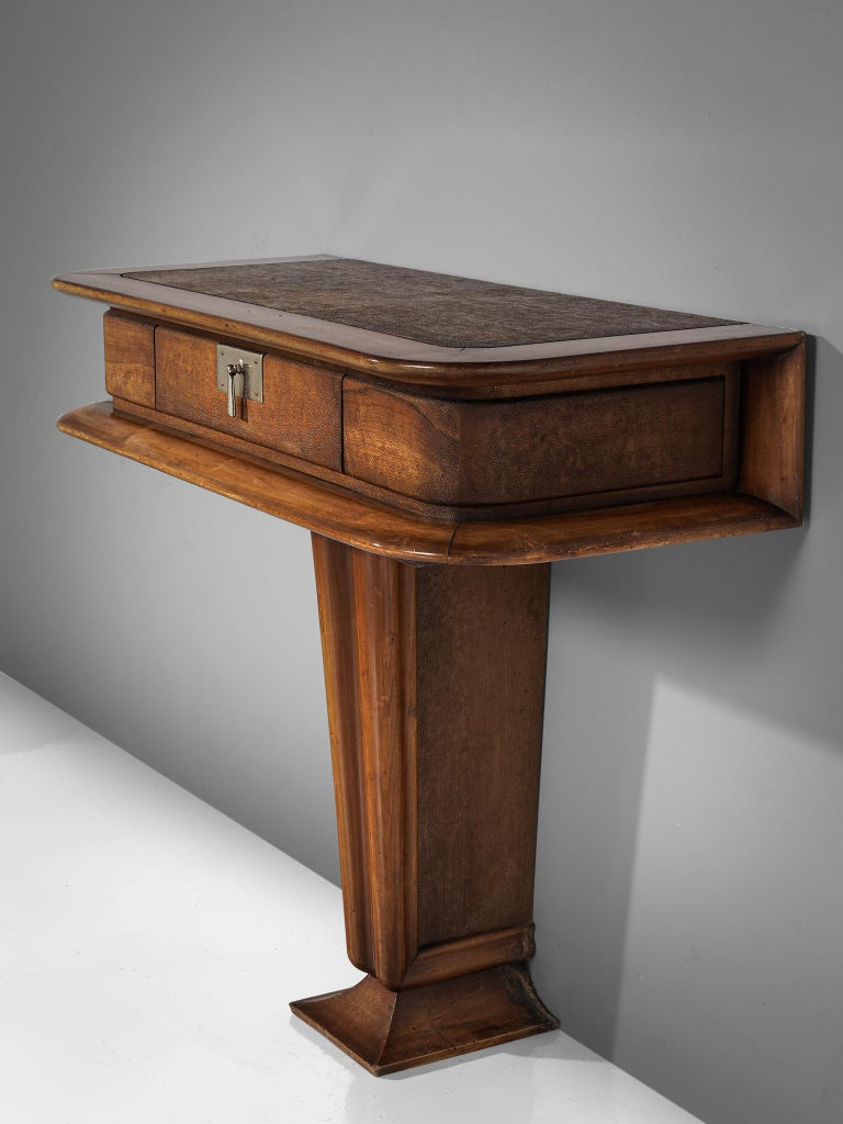 Italian Console Inlayed with Leather by Vittorio Valabrega For Sale