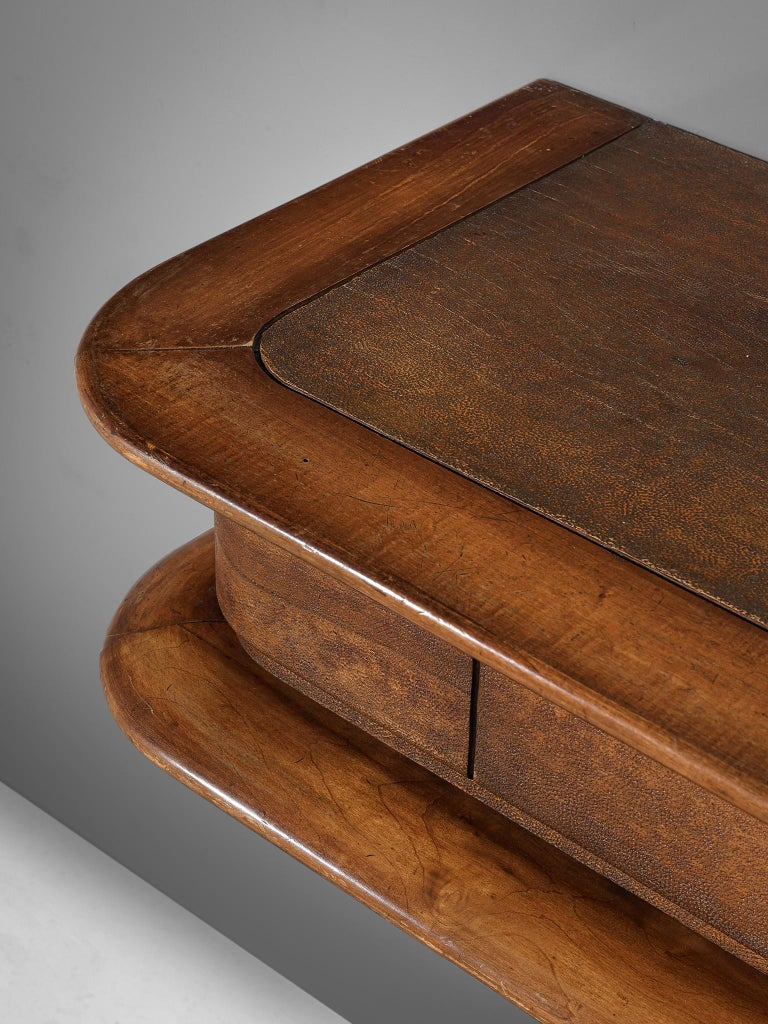Mid-20th Century Console Inlayed with Leather by Vittorio Valabrega For Sale