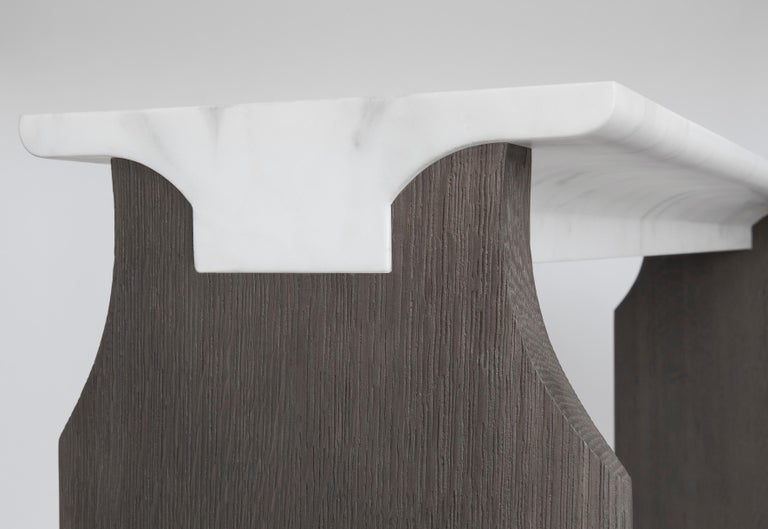 Console Jay by Atelier Linné is presented by Anne Jacquemin Sablon  Calacata carved marble and brushed tinted oak console.