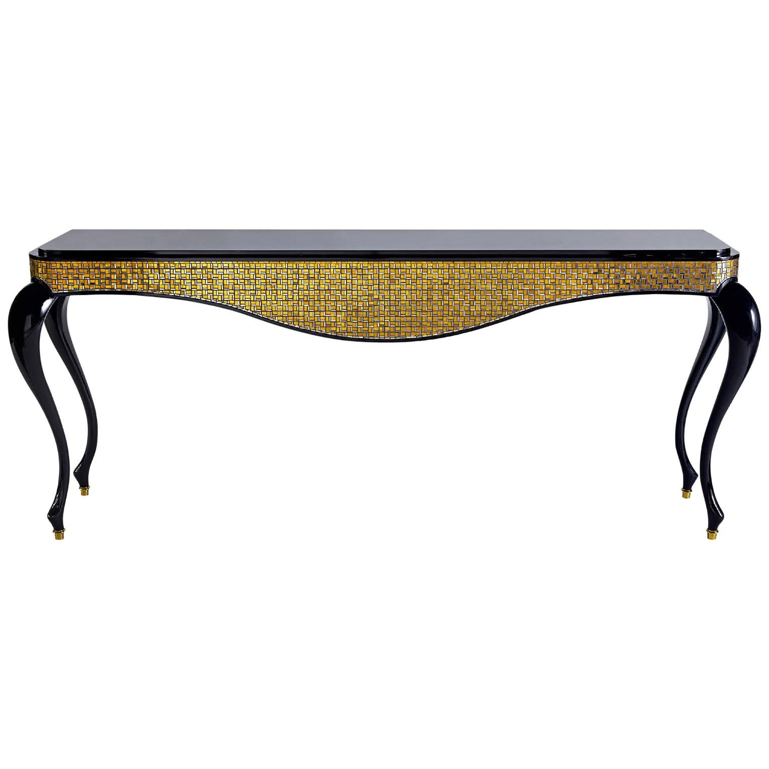 Console Legs Glossy Lacquer Leather Cover Marble Top Caps in Bronze Tiny Mosaic