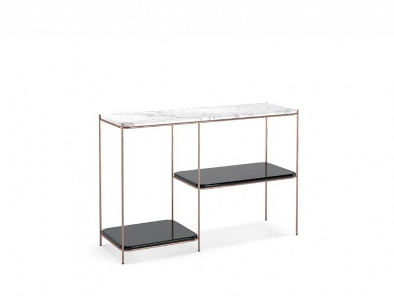 Console Bianco Carrara marble top Black lacquered tops Copper stainless steel legs Measures: W 120 cm, D 40 cm, H 80 cm Production Time: 6 Weeks.
