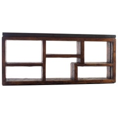 Console Made From Reclaimed French Pine With Ebonized Limestone Top