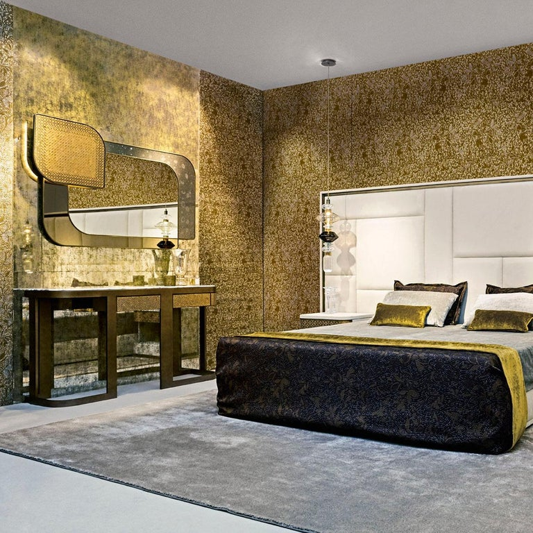 Console Metal Frame Distressed Paint Finish Top Calacatta Gold or Black Aziz In New Condition For Sale In London, GB