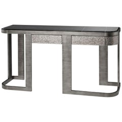 Console Metal Frame Distressed Paint Finish Top Calacatta Gold or Black Aziz