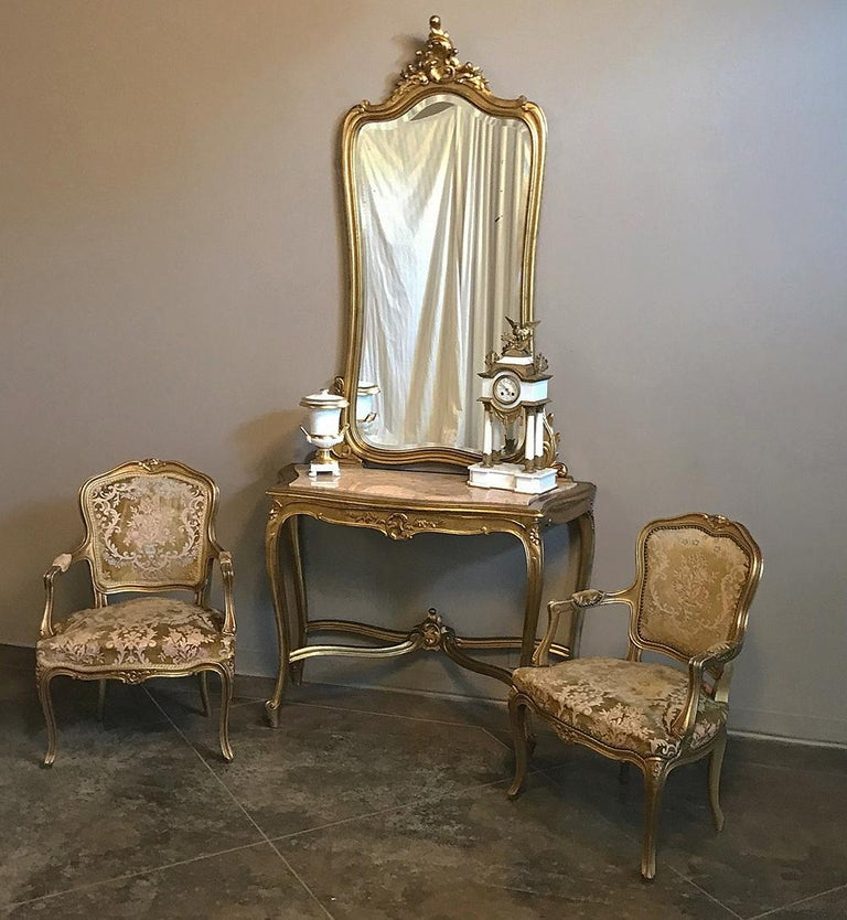 Louis XV Console, Mirror, 19th Century Italian Rococo Giltwood with Marble Top For Sale