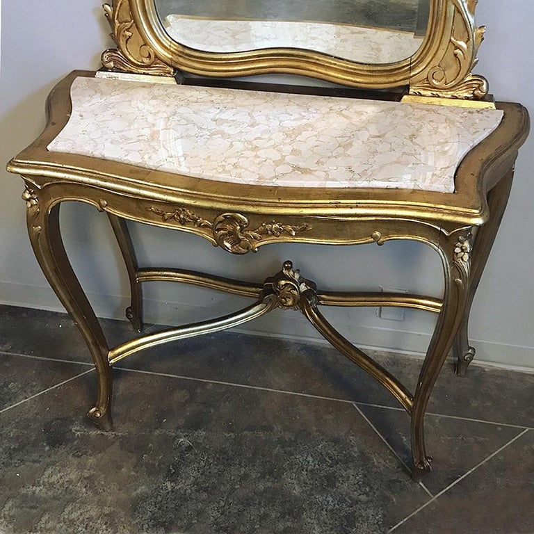 Beveled Console, Mirror, 19th Century Italian Rococo Giltwood with Marble Top For Sale