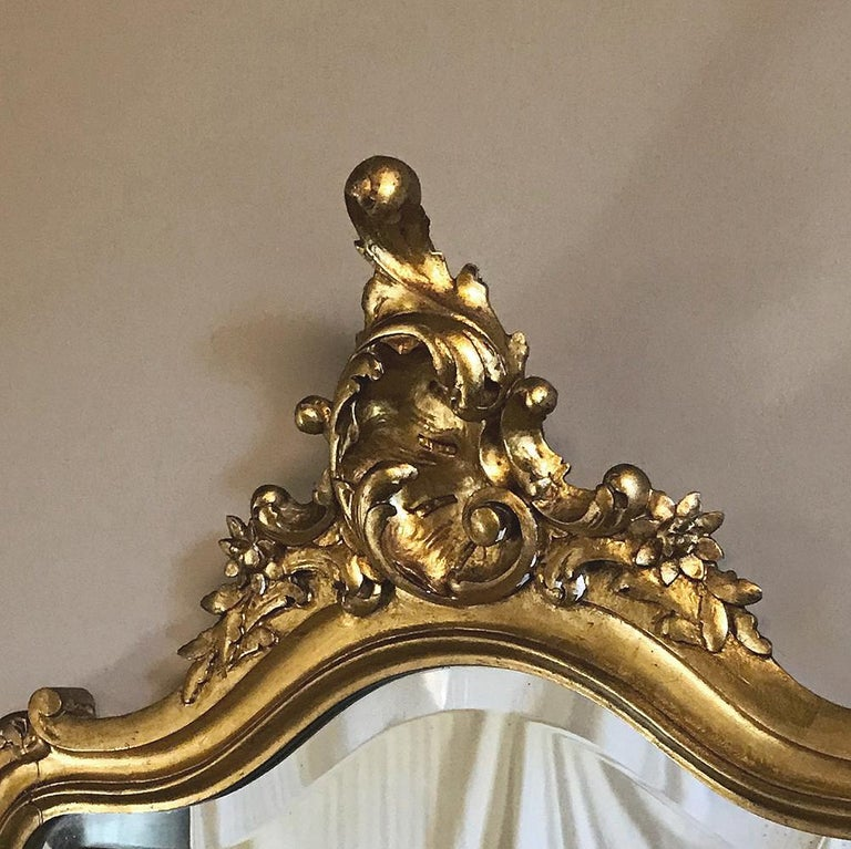 Console, Mirror, 19th Century Italian Rococo Giltwood with Marble Top In Good Condition For Sale In Dallas, TX