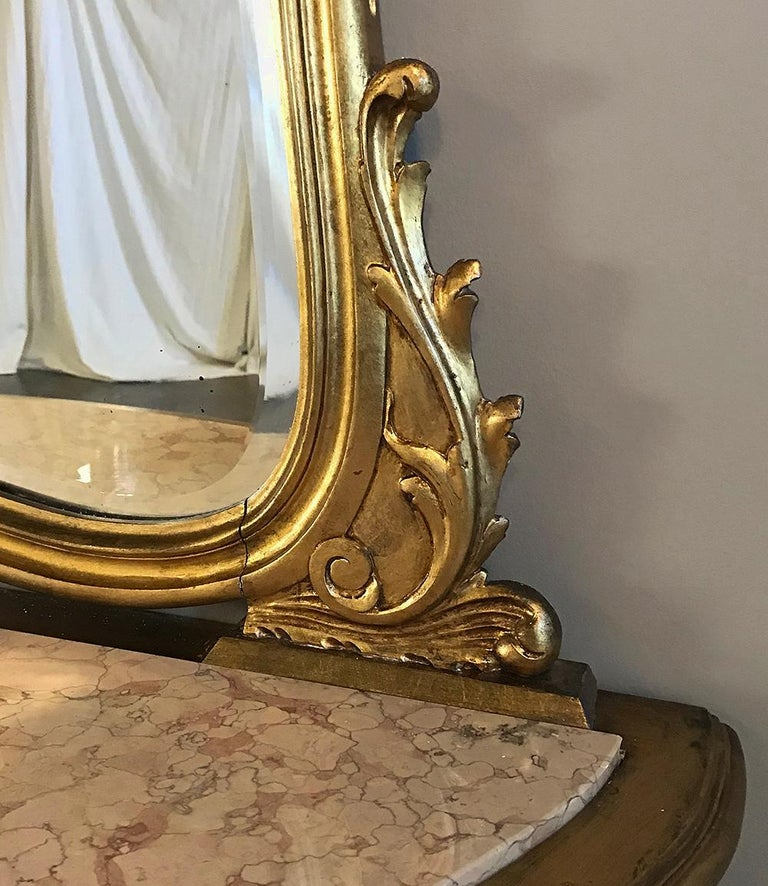 Late 19th Century Console, Mirror, 19th Century Italian Rococo Giltwood with Marble Top For Sale