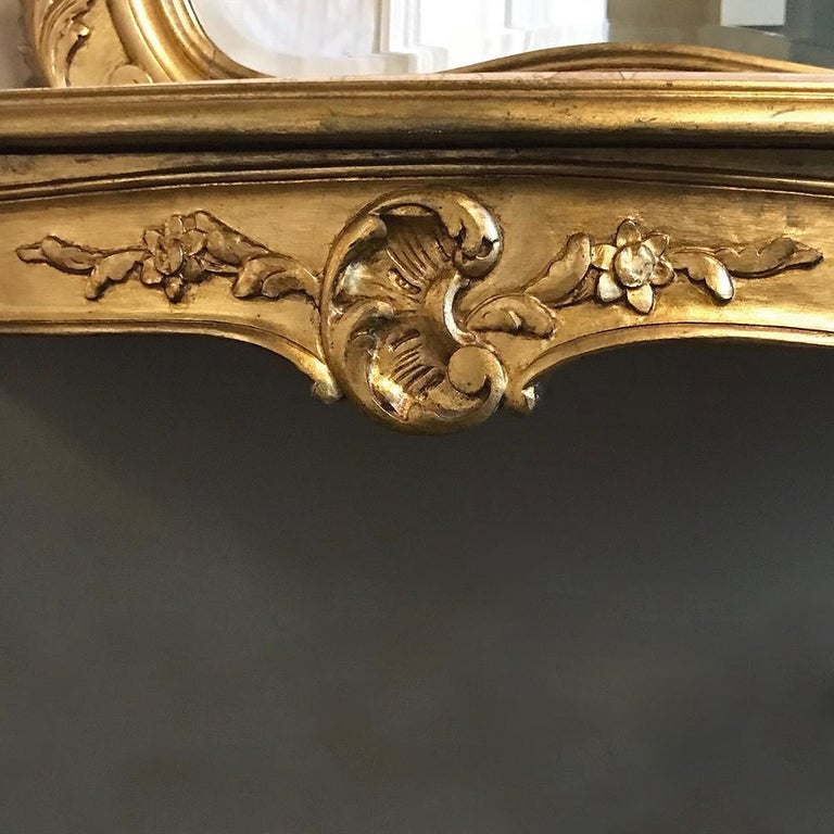 Console, Mirror, 19th Century Italian Rococo Giltwood with Marble Top For Sale 1